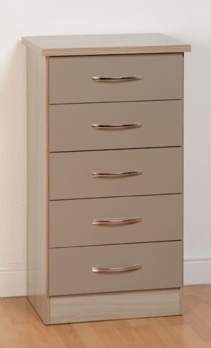 Nevada 5 Drawer Narrow Chest OYSTER